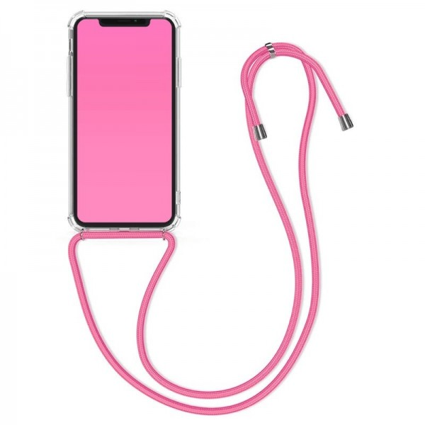 4-OK Anti-Shock Cover für Apple iPhone X/XS mit Halskette - Pink (HangOn)
