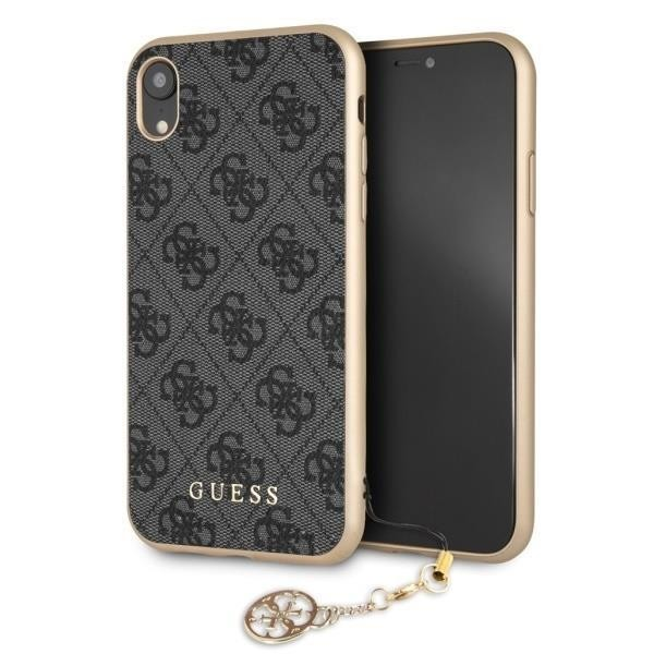 Guess Charms Hardcover 4G Hülle für Apple iPhone XR - Grau
