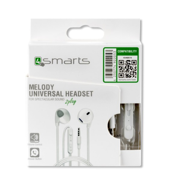 4smarts In-Ear Stereo Headset Melody 3.5mm Audiokabel 1.2m - Weiss