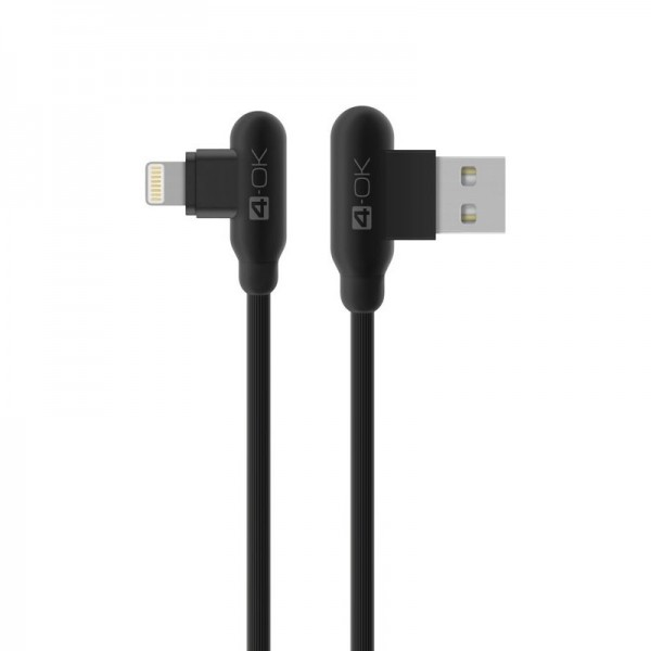 4-OK Loove T-Type Cable USB 2.4 A auf Lightning Lade-/Datenkabel 1m - Schwarz