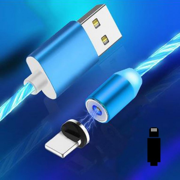 Cyoo Flow Light Magnet Lightning auf USB-A Ladekabel 1m - Blau