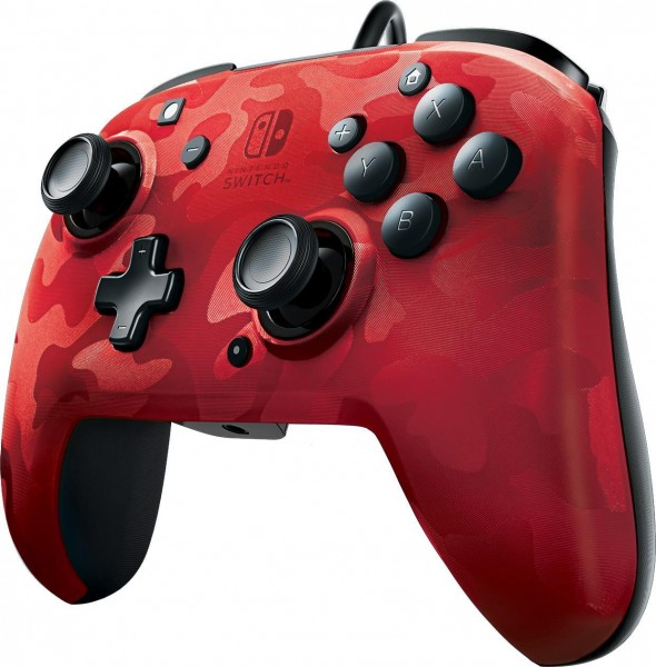 PDP Wired Controller Faceoff Deluxe + Audio für Nintendo Switch - Rot-Camouflage