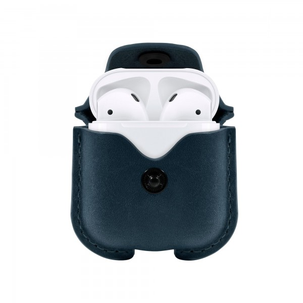 Twelve South AirSnap Leder Etui für Apple Airpods in Deep Teal (Petrol)