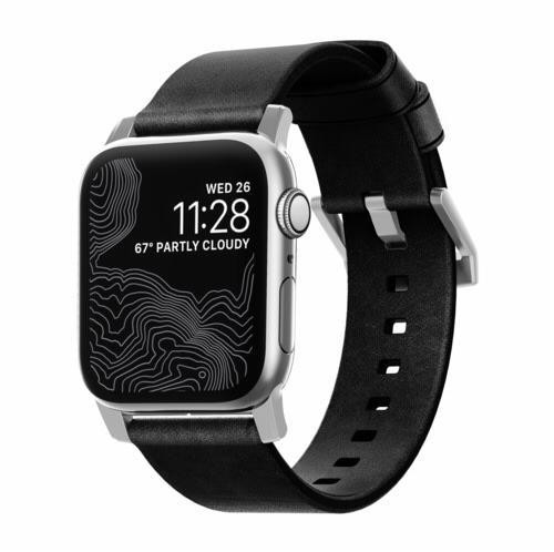 Nomad Strap Modern Leather für Apple Watch 42/44 mm - Silber Connector / Schwarz