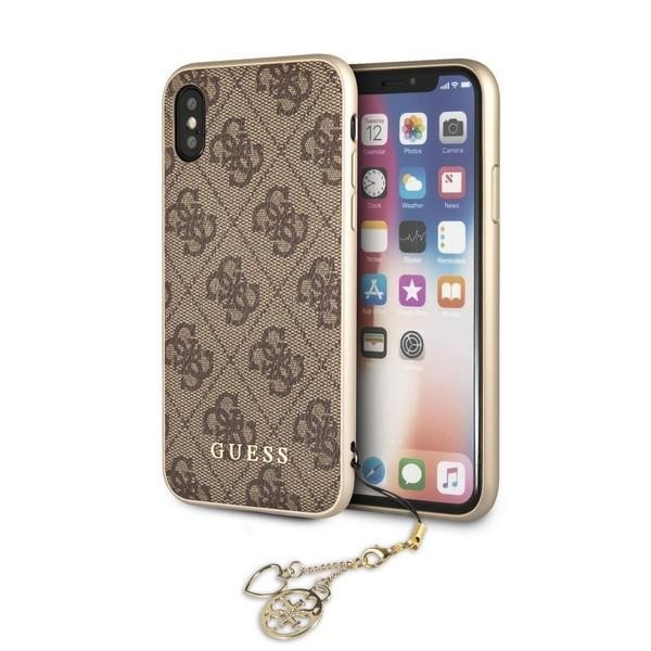 Guess Charms Hardcover 4G Hülle für Apple iPhone X/Xs - Braun
