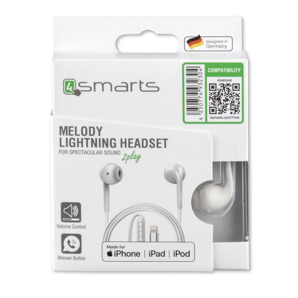 4smarts In-Ear Stereo Lightning Headset Melody Mfi - 1,2m - Weiss