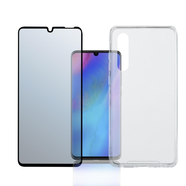 "4smarts 360 Premium Protection Set ""Case Friendly"" mit Colour Frame Glas für Huawei P30 - Schwarz"