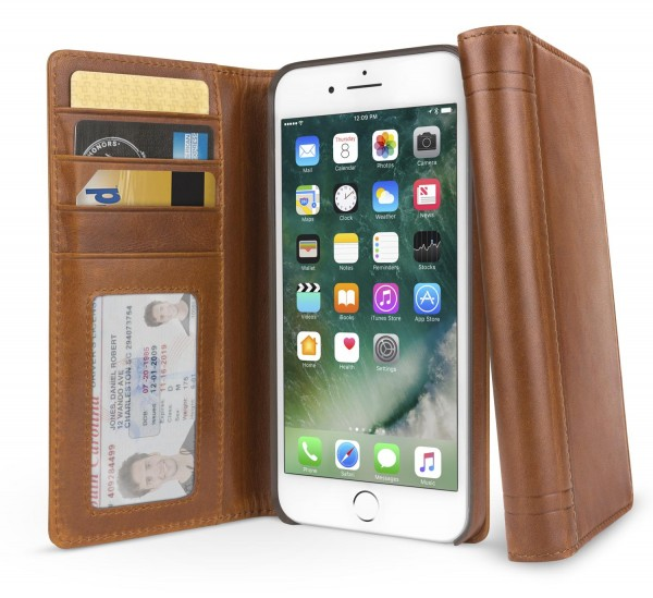 Twelve South Journal Lederfolio mit Kartenfächer für Apple iPhone 8/7/6/6s - Cognac