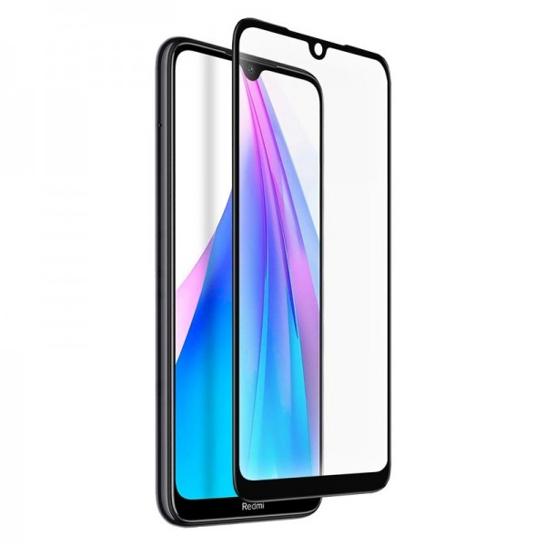 4-OK Tempered Glass Frame Display Schutz Case friendly für Xiaomi Redmi Note 8T - Schwarzer Rahmen