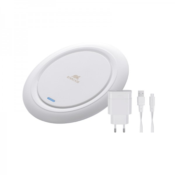 RivaCase VA4914 WD1 QI Wireless Fast Charger Ladestation inkl. Ladegerät - Weiss