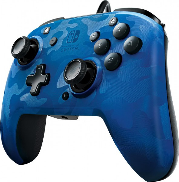 PDP Wired Controller Faceoff Deluxe + Audio für Nintendo Switch - Blau-Camouflage
