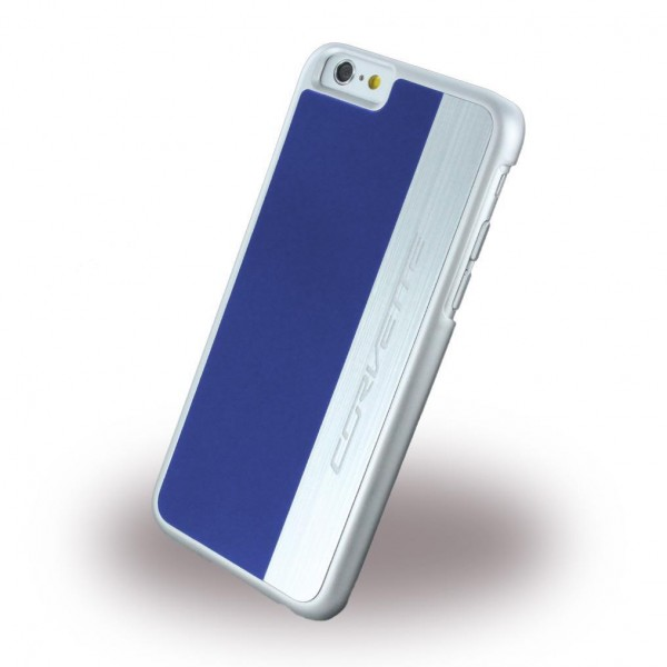 Corvette Silver Brushed Aluminium Hard Cover für Apple iPhone 6/6s - Blau