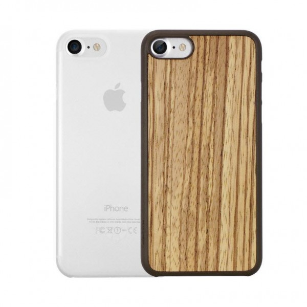 Ozaki O!Coat 0.3 Jelly + Wood Case für Apple iPhone 7 - zebrano & transparent