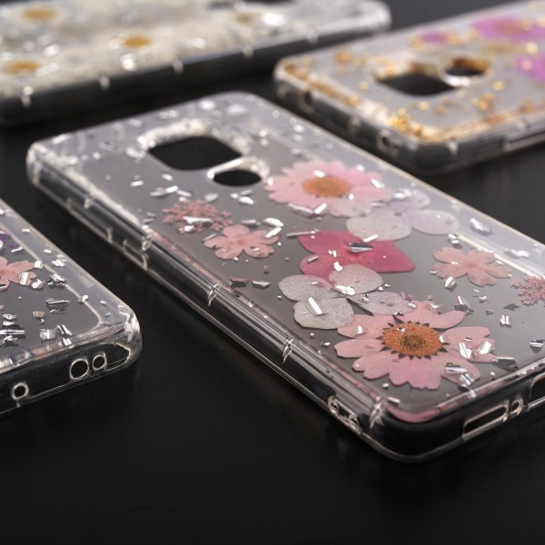 4smarts Soft Cover Glamour Bouquet für Huawei Mate 20 - Violett/Pink/Silber