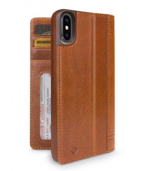 Twelve South Journal Lederfolio mit Kartenfächer für Apple iPhone Xs/X - Cognac