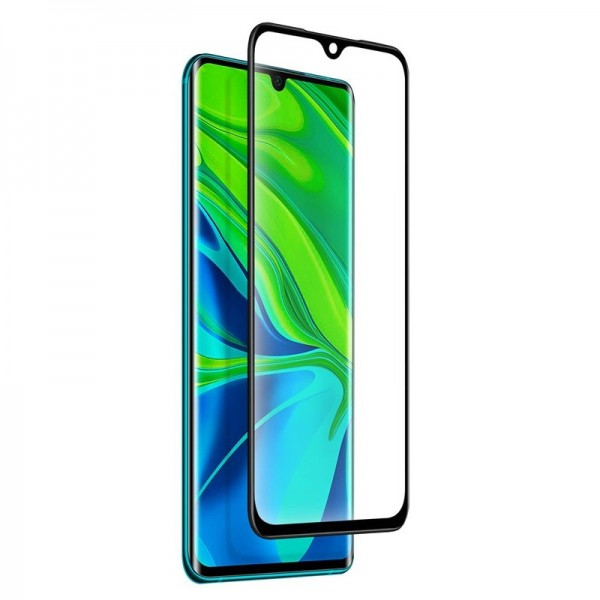 4-OK Tempered Glass Frame Displayschutz Case friendly für Xiaomi MI Note 10 - Schwarzer Rahmen