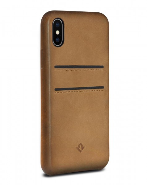 Twelve South Relaxed Leather Clip mit Pockets für Apple iPhone X/Xs - Cognac