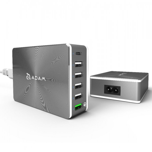 Adam Elements OMNIA PA601- Multi USB Charger mit QC 3.0 Port - Grau