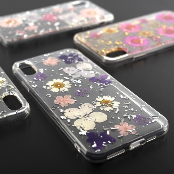 4smarts Soft Cover Glamour Bouquet für Apple iPhone Xs / X - weisse Blumen/silberne Flocken