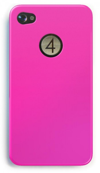 4-OK Cover Cristal Clear Back Housing Pink für Apple iPhone 4 und 4S