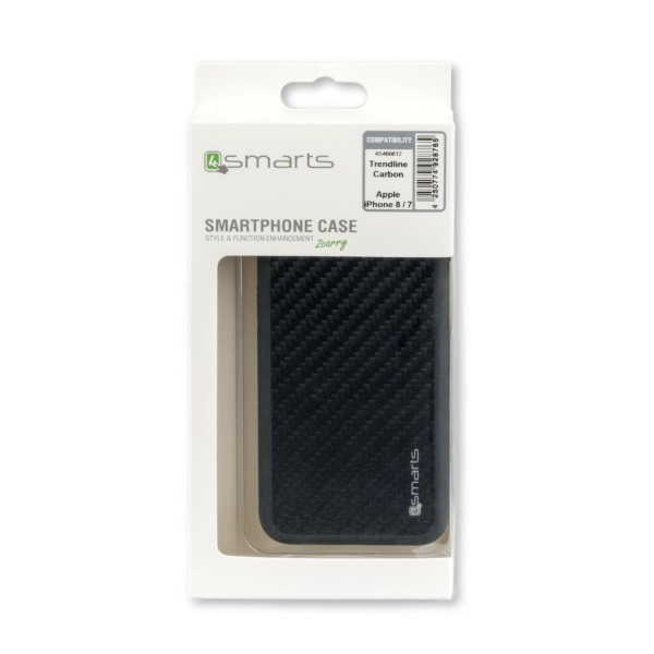 4smarts Clip-On Cover Trendline Carbon für Apple iPhone 8 / 7 /SE (2020) - Schwarz