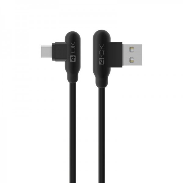 4-OK Loove T-Type Cable USB 2.4 A auf USB-Micro Lade-/Datenkabel 1m - Schwarz