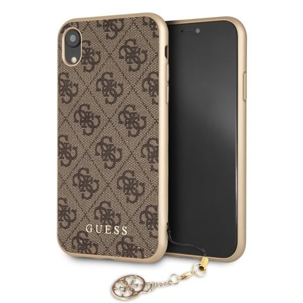 Guess Charms Hardcover 4G Hülle für Apple iPhone XR - Braun