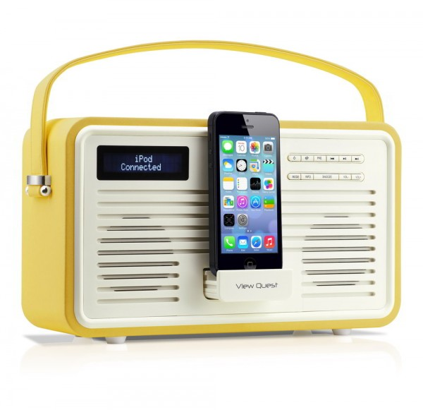 View Quest Retro FM/DAB+ Radio mit Lightning-Dock, Senfgelb