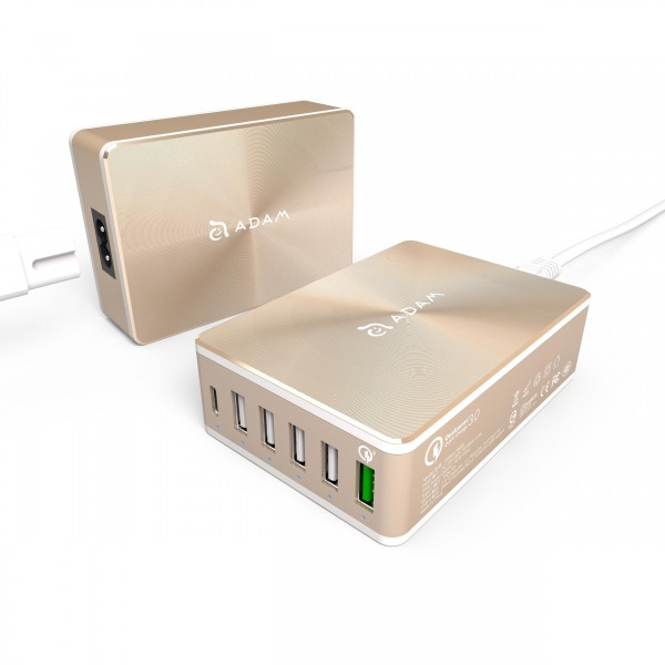 Adam Elements OMNIA PA601- Multi USB Charger mit QC 3.0 Port - Gold