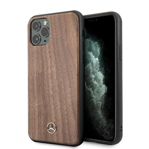 Mercedes Benz Wood Line Walnut Hard Cover für Apple iPhone 11 Pro - Braun