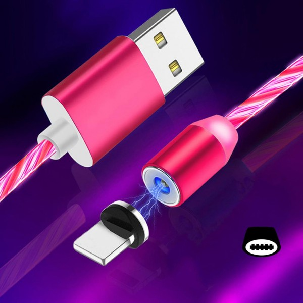 Cyoo Flow Light Magnet USB Typ C auf USB-A Kabel 1m - Pink