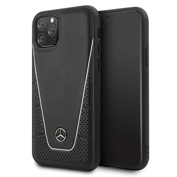 Mercedes Benz Quilted Echtes Leder Case Hard Cover für Apple iPhone 11 - Schwarz