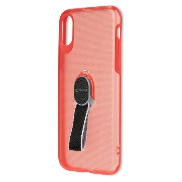 4smarts Clip-On Cover LOOP-GUARD Hülle mit Finger Strap für Apple iPhone Xs / X - Rot